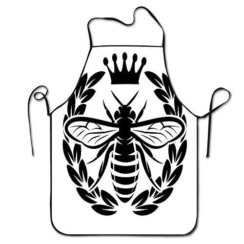 IUBBKI Delantal de Cocina Personalizado, Delantal Fresco Delantal de Parrilla Personalizado para cocinar, Hornear, jardinería, Corona monocromática, insec