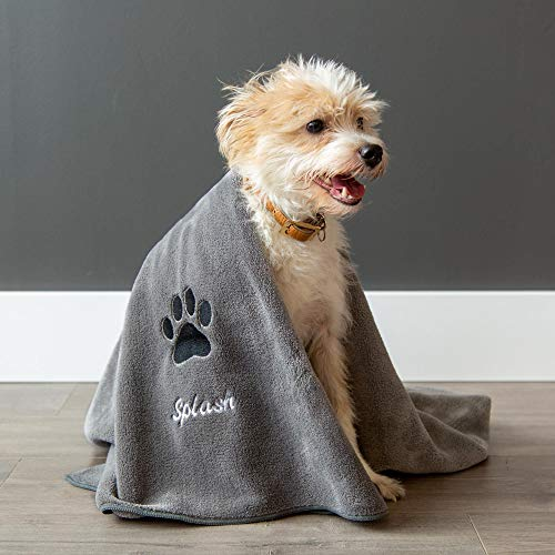 Large Personalized Premium Bath Towel for Dogs - Dry Your Dog with This Super Absorbent, Cozy, Towel with Your Dog's Name