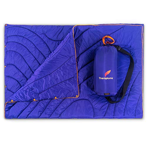 Theraplume Camping Blanket - Warm Outdoor Throw with Carry Bag - for All Weather and Waterproof - Perfect on a Picnic, Beach, Tent, Sports Stadium, Travel, Car - Puffy, Lightweight, Compact, Packable