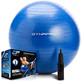 DYNAPRO Exercise Ball – Extra Thick Eco-Friendly & Anti-Burst Material Supports Over 2200lbs – Stability Ball for Home, Gym, Chair, Birthing Ball (Blue, 75 Centimeters)