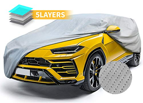 SUV Car Covers Breathable Vehicle Cover All Weather Outdoor Auto Cover UV Resistant Windproof Storm Protection Water Resistant Car Covers 240""