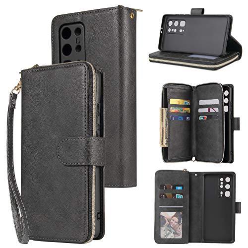 nancencen Handyhülle Kompatibel mit Huawei P40 Pro Plus, Lederhülle Flip Cover Brieftasche Hülle Kreditkartenschlitz (9 Karten) für Huawei P40 Pro Plus Schutzhülle -Schwarz