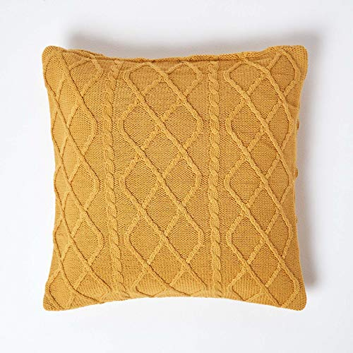 HOMESCAPES Mustard Cable Knit Cushion Cover 100% Cotton Diamond Pattern Bed or Sofa Cushion for Living Room Handwoven Super Soft Textured Dark Yellow 45 x 45 cm Square Throw Cushion Case, 18 x 18""