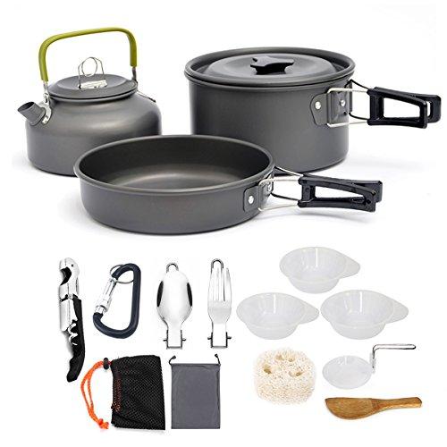AUTOPkio Juego de Utensilios de Cocina para Camping, portátil y liviano para...