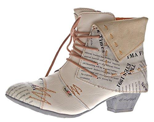 TMA Damen Stiefeletten Echtleder Knöchel Schuhe Leder Boots 6106 Weiß Gr. 40