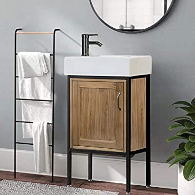 """LUCA Kitchen & Bath LC18TRP Addison 18.5"""" Reclaimed Wood Single Sink Bathroom Vanity Set with White Integrated Porcelain Top, Walnut"""