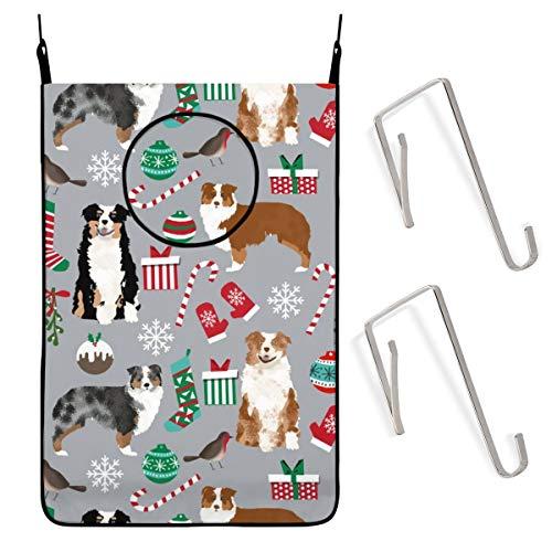 Zhark Wäschesammler zum Aufhängen, 50,8 x 76,2 cm, Motiv: Australischer Schäferhund, Weihnachtsmotiv, niedlicher Aussie Hund, schmutzige Kleidung, Aufbewahrungskorb, Waschtasche mit Türwandhaken