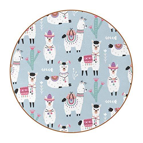 6 Pieza Creativa Diseño Posavasos Linda Alpaca Posavasos de Cuero de Microfibra, Tipos de Café té Cristal Posavasos Portavasos Mat para Cocina Salón y Bar 11cm