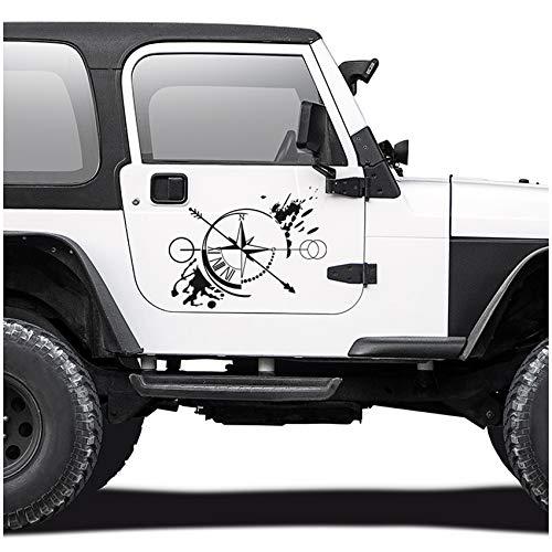 Autoaufkleber Kompass Offroad Windrose Sticker Folie für Auto Motorrad Wohnwagen Wohnmobil Anhänger Aufkleber Selbstklebend Kfz Zubehör KX060 (Schwarz Matt, Design 3 groß)