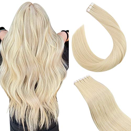 Ugeat Hair Extension Adesive Capelli Veri Biondi 2.5G/PC Exstescion Capelli Veri Adesivo #60 Biondo Platino 100% Remy Human Hair Tape in Extension Adesive (55cm, 50GR/20PCS)