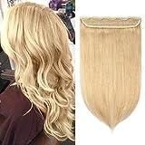 Extension a Clip Cheveux Naturel Monobande Une Pièce 3/4 Head Maxi Volume - Rajout 100% Vrai Cheveux Humain - #24 Blond clair - 50 cm (95g)