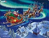 Larsen XM1 Santa Claus y su Trineo en la Aurora Boreal, Puzzle de Marco con 26 Piezas
