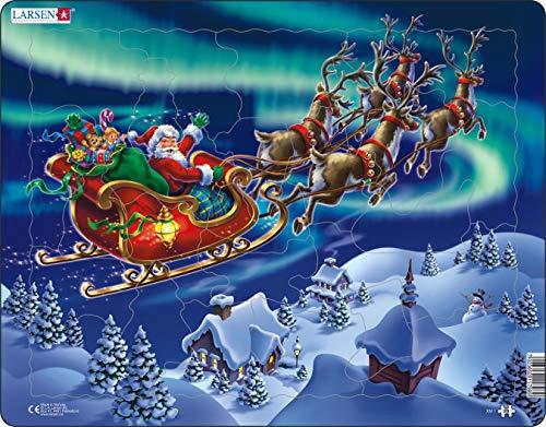 Larsen XM1 Babbo Natale e la Sua Slitta all'aurora boreale, Puzzle Incorniciato con 26 Pezzi