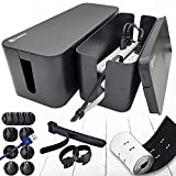 Cable Management Box Organizer Set, Pack of 2 with Configuration Kit, Updated Anti-Skid Design, Large and Medium Black Boxes with Cable Ties, Clips and Sleeve. Covers and Hides Cords/Wires/Power Strip