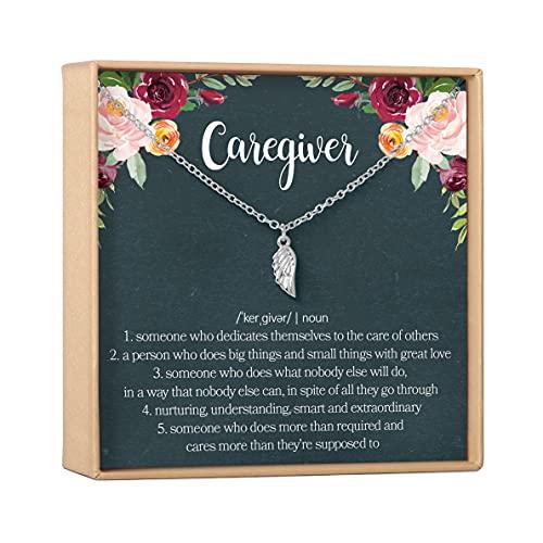 Dear Ava Caregiver Thank You Gift Necklace: Caretaker, Nurse, Attendant, Appreciation - Wing (Green design silver wing)
