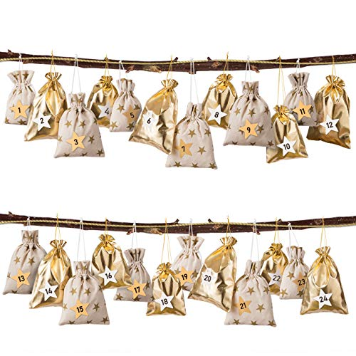 GWHOLE 24 Adventskalender zum Befüllen 2020 Weihnachten Säckchen Tüten mit Zahlen Gold Stern