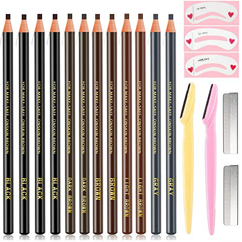 Waterproof Eyebrows Pencil Tattoo Makeup And Microblading Supplies Kit-Permanent Eye Brow Liners In Wa(including :12 eyebrow pens, 2 eyebrow knives, 3 eyebrow card, 2 pencil sharpeners, 1 makeup bag)