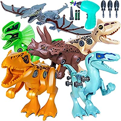 Take Apart Dinosaur Toys for 3-7 Year Old Boys, STEM Activities Dinosaur Building Construction Toys Set for Kids with Electric Drill, Dinosaur Educational Toys Christmas Birthday Gifts for Boys Girls from Topsolid
