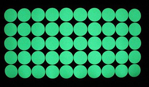 50 Stk. Aufkleber Kreise Nachtleuchtend Geocaching phosphoreszierende Folie K008