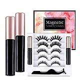 Elurh 5 Pairs Magnetic Eyelashes and 2 Tube Magenetic Eyeliner Kit, Reusable Natural Magnetic 3D Multi Styles False Eyelashes