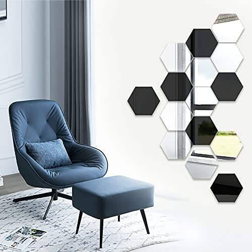 15Pcs Mirror Wall Stickers for Walls, Large Hexagon Acrylic Plastic Mirror Tiles Art Decoration DIY Removable Hexagonal Mirrors Sheets Setting Sticker Decal Murals for Home Office Kitchen Gym Decor