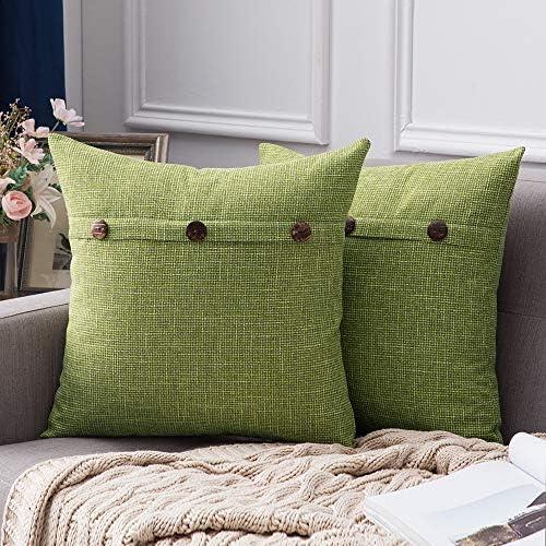 MIULEE Set of 2 Decorative Linen Throw Pillow Covers Cushion Case Triple Button Vintage Farmhouse product image