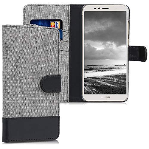 kwmobile Hülle kompatibel mit Huawei Y6 (2018) - Kunstleder Wallet Hülle mit Kartenfächern Stand in Grau Schwarz