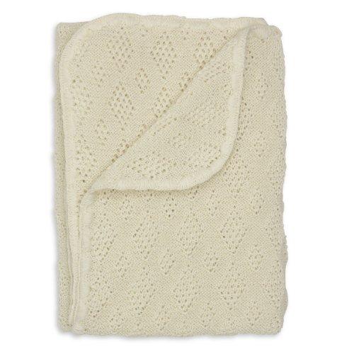 Disana Baby Wolldecke - Gestrickt aus 100% kbT Schurwolle, Größe 100x80cm, Weiß, Medium