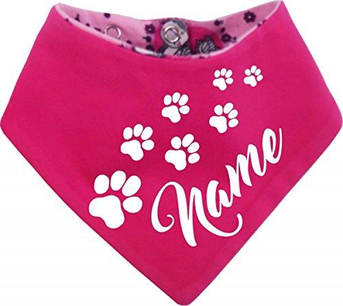 KLEINER FRATZ Hunde Wende-Halstuch EINHORNDESIGN (Fb: Uni-pink/Einhorn pink) (Gr.2 - HU 31-35 cm) mit dem Namen Ihres Tieres