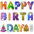 Lejof Happy Birthday Yard Signs - 15 Pack Colorful Yard Decorations Outdoor Lawn Decorations with Stakes, All Weather Corrugated Plastic Signs with Letters and Cupcake Birthday Hat (Colorful)