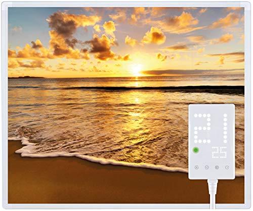 Heidenfeld Infrarotheizung HF-HP105 mit Fotomotiven - 10 Jahre Garantie - Deutsche Qualitätsmarke - TÜV GS - 300/400 / 500/600 / 800/1000 Watt - 3-25 m² (300 Watt, Strand)