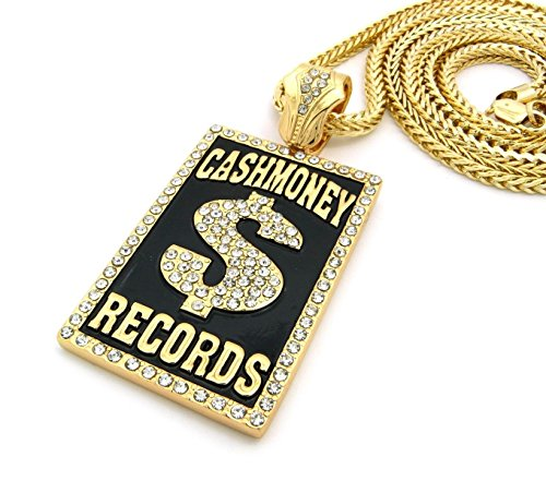 Shiny Jewelers USA Mens Iced Out Hip Hop Silver or Gold Cash Money Records Pendant Franco Chain Necklace (Gold)