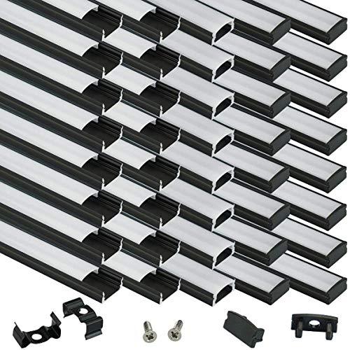 Muzata Black LED Channel System with Milky White Cover Lens 40Pack U1SW BW 1M Bundle Multi-Angle Hand Miter Cutter LC01 Bundle Mounting Clip and End Cap 12Pack LCU2 Bundle Extension Connector 20Pack