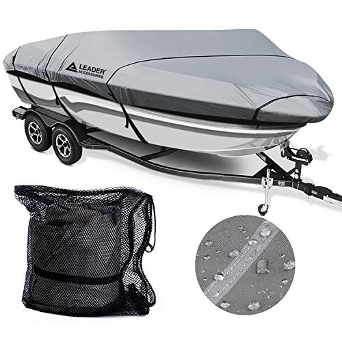 Best Price Leader Accessories Waterproof Boat Cover, 600D Polyester Trailerable Bass Runabout Boat C...