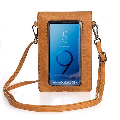 Touchscreen-Geldbörse mit Klarsichtfenster, Schultergurt, für Mädchen & Frauen, Leder, Crossbody-Tasche Motorola Moto G8 Plus, G7, G Power Z4, G6, LG V50, V40, ThinQ, OnePlus 8, 7 Pro, Hellbraun