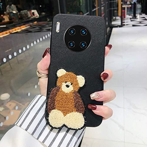Adecuado para Huawei mate30 / p40 / mate40 / nova7 / pro / 20/10/6 funda para teléfono móvil oso bordado de felpa funda protectora airbag PU cuero anti-caída y resistente a los arañazos