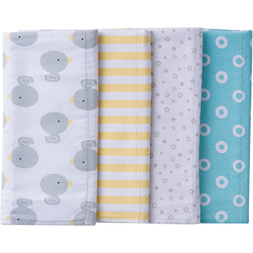 Gerber Baby 4 Pack Flannel Burp Cloth, new duck, 20' x 14'