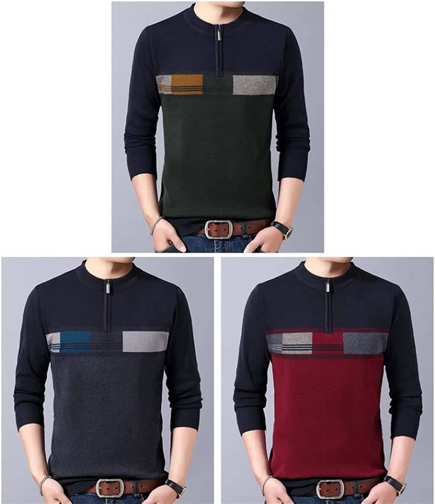 GPPZM Casual Thick Warm Winter Zipper Knitted Pull Sweater Men Wear Jersey Pullover Knit (Color : A, Size : 3XL)