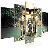 decomonkey Bilder Buddha 200x100 cm 5 Teilig Leinwandbilder