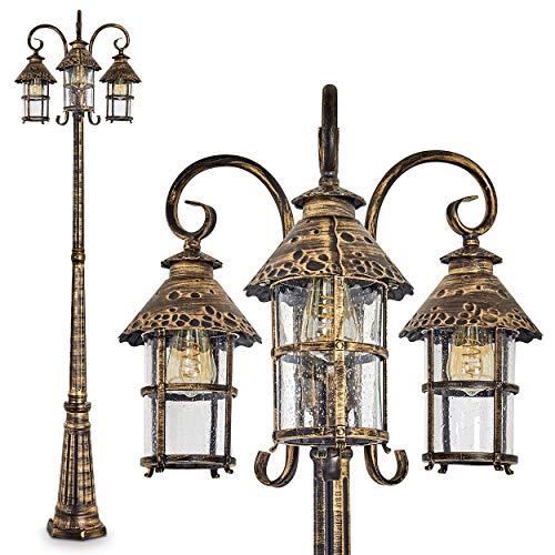 Außenleuchte Tolep, Kandelaber in antikem Look, Metall in Braun/Gold, mit Echtglas-Scheiben, 3-armige Wegeleuchte 220 cm, Retro/Vintage Gartenlampe, E27-Fassung, je max. 60 Watt, IP44