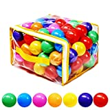 Mooner Pack of 100 Ocean Balls Phthalate Free BPA Free Crush Proof Plastic, Pit Balls - 7 Bright Colors in Reusable Play Toys for Kids with Storage Bag