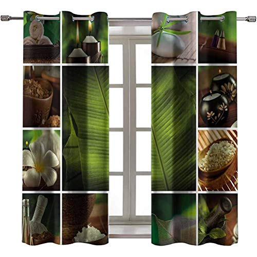 Opehodecor Spa Blocking Draperies Collage of Candles Stones Herbal Salts Towels Botanic Plants Design Print Nursery and Kids Bedroom Curtains 55 x 63 inch