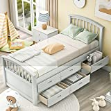 Wood Platform Bed with 6 Drawers - Twin Storage Bed Wood Slat Support, No Box Spring Needed