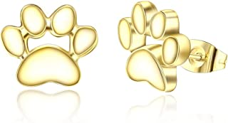 MANVEN Hypoallergenic Paw Print Stud Earrings Stainless Steel Pet Memorial Jewelry Gift for Women Kid Girls