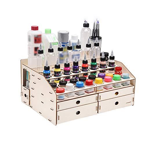 El estante pintura madera con 4 gabinetes, organizador soporte almacenamiento de botellas...
