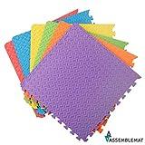 Assemblemat '' Mousse EVA douce Protection du sol '' Tapis multicolores emboîtables de 12 mm pour exercice de gymnastique de yoga Salle de jeux avec rebords 6 pièces = 24 pieds carrés