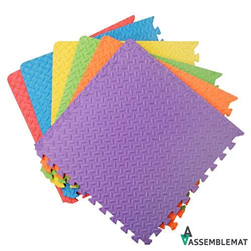 Assemblemat Tappeto per esercitazioni Palestra Garage Baby Room, 12mm Eva, 6 Piastrelle, 24 Piedi Quadrati Multicolore