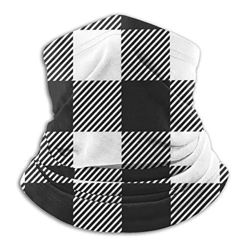 Pasamontañas Estilo clásico blanco y negro cuadros de franela a cuadros de franela sin costuras cómoda cómoda pasamontañas capucha