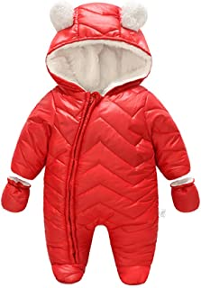 8c3d9eab6 JanLEEsi Baby Boy Girl Winter Hooded Snowsuit Romper Zipper Padding  Bodysuit Infant Puffer Jacket with Gloves
