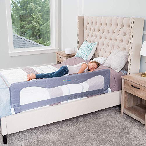 Bed Rails for Toddlers &Infants – Kids Bed Safety Guard Rail –Toddler Bed Rails for Twin, Full Size, Queen &King Mattress – Baby Bed Rail for Children – Extra Long Crib Rail Guard -Grey (59L19.5H) in